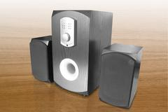 computer speakers and amplifier - stock photo