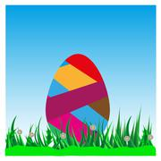 Colorful Easter eggs on green grass against the sky Stock Illustration