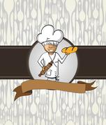 Baker chef cartoon menu badge - stock illustration