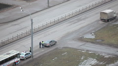 Driver drive away after document checking, Russian police officers, Russia - stock footage