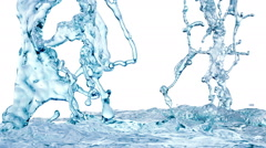 Blue Water Splash, with alpha channel. Slow motion. Stock Footage
