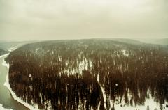 Aerial view of snowy remote forest Kuvituskuvat