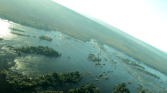 Aerial of Zambezi River near Victoria Falls Stock Footage