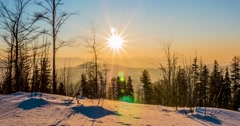 Winter Sunset Timelapse 4k Stock Footage