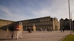 Time lapse Schlosssplatz Stuttgart 02 Stock Footage