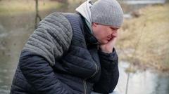 Man taking medication - stock footage