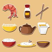 Set of stickers on chinese cuisine theme - stock illustration