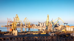 Sunny weather sea port time lapse Stock Footage