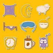 Set of hand drawn stickers on sleep theme Stock Illustration