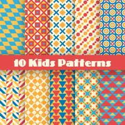 Retro kids vector seamless patterns. Endless texture Stock Illustration