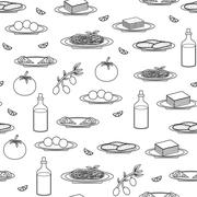 Seamless black-white background on italian food theme Stock Illustration