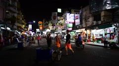 View at night Khao San road Stock Footage