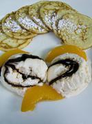 Mini pancakes and ice-cream Stock Photos