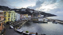 Evening view of small harbour in Sorrento city, Italy - stock footage