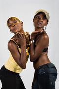 African girls couple - stock photo