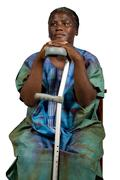 invalid old African woman - stock photo