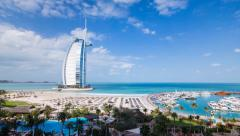 Time lapse - Dubai, elevated view over Jumeirah Beach Stock Footage