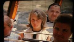 Girl in the bus. Vintage 1967 Stock Footage