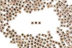Abc written in small wooden cubes Stock Photos