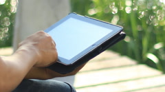 Typing on Tablet PC Stock Footage
