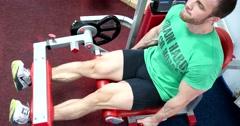 Sports man hard training in gym Stock Footage