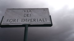 Italy - Rome - Via dei Fori Imperiali sign Stock Footage