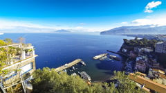Picturesque view of Sorrento coastline, Gulf of Naples and Mount Vesuvius - stock footage