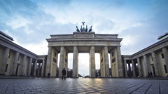 Brandenburg Gate in Berlin, Germany (Time Lapse) Stock Footage