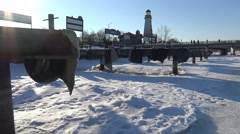 Frozen River and Boat Docks/ 4k Winter Landscape footage Stock Footage