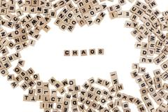 chaos written in small wooden cubes - stock photo