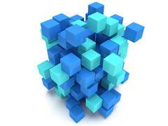 3D Cubes block. Assembling concept. Stock Illustration
