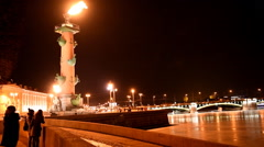 Flame on the Rostral column in St. Petersburg, Russia Stock Footage