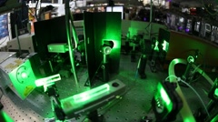 Demonstration of Qbits with lasers at the Time Resolved Spectroscopy Lab Stock Footage