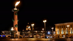 Stock Video Footage of Flame on the Rostral column in St. Petersburg, Russia