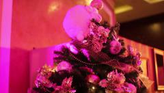 Christmas tree in discolights Stock Footage