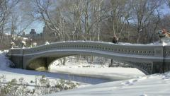 Central Park's Bow Bridge after snowfall. New York City. Stock Footage