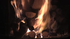 Fire starting in Wood Stove in Winter - closeup Stock Footage