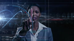 African American businesswoman trade technology global touchscreen shares online Stock Footage