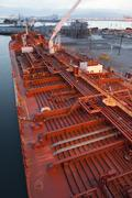 High angle view of deck piping on oil tanker ship Stock Photos