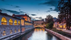 Ljubljana - Sunset on Ljubljanica river Stock Footage