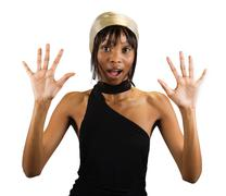 surprised african woman - stock photo