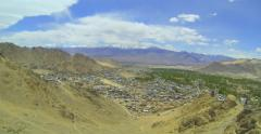 Lech panorama from the roof of the palace Namgyal Stock Footage