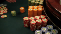 Casino chips on a game table Stock Footage