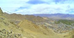 View of the mountains from Leh Stock Footage