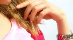Close up Sensual Young Female Touching her Long Blond Hair Stock Footage