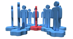 Group of stylized blue people stand on gears - stock footage