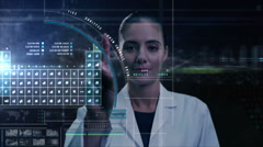 Caucasian American female science touchscreen technology research periodic table Stock Footage