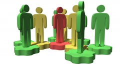 Group of stylized people stand on gears - stock footage
