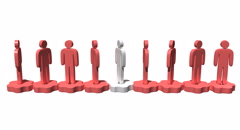 Row of stylized people stand on gears - stock footage