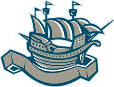 sailing ship galleon scroll. - stock illustration